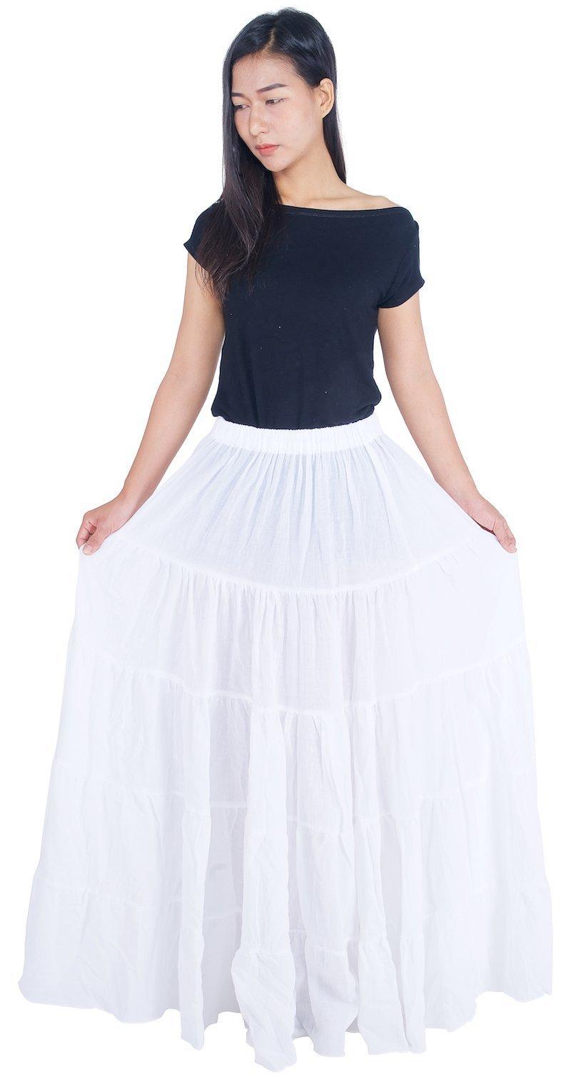 Lannaclothesdesign Women's Cotton Long Ruffle Full Circle Long Skirts Maxi Skirt One Size White