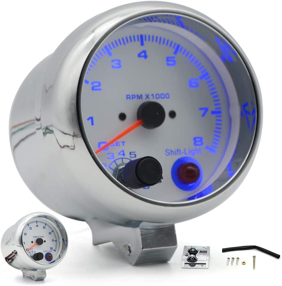 Carvicto 3.75 95mm White Electrical Tachometer RPM Gauge with Internal Shift Light 4 6 8 Cylinders Chrome Rim