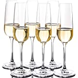 FAWLES Crystal Champagne Flutes Set of 6 - Classy Clear Stemmed Champagne Flute Glasses, Mimosa Glasses, 7 Ounce, Idea for An