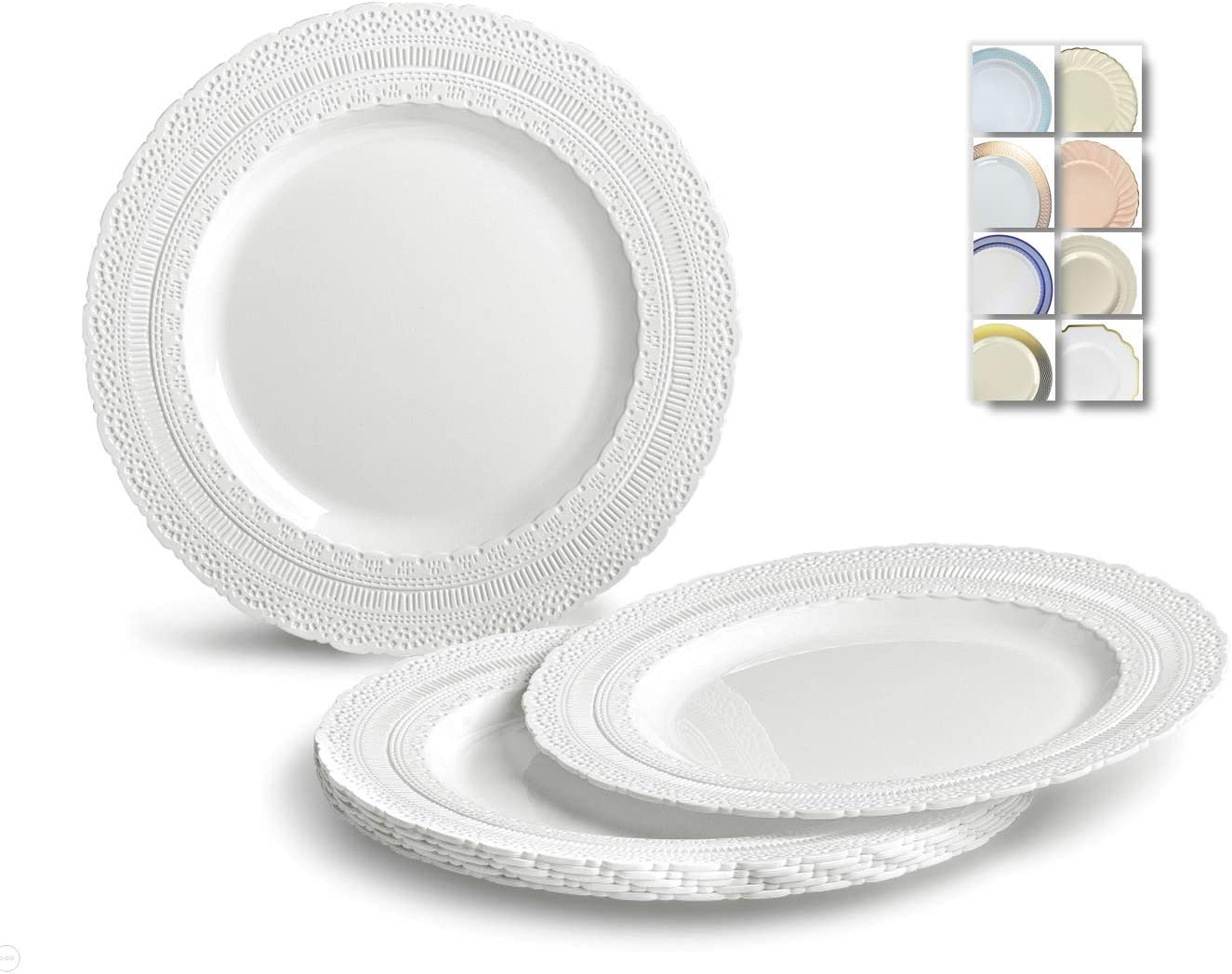 OCCASIONS 120 Plates Pack, Extra Heavyweight Vintage Wedding Party Disposable Plastic Plates (8.25'' Appetizer/dessert plate, Chateau in White) 61CWUFKhpoL