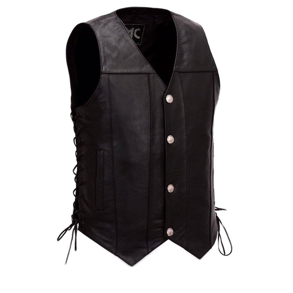 First Manufacturing Men's Gun Slinger Motorcycle Vest, Black, 8X