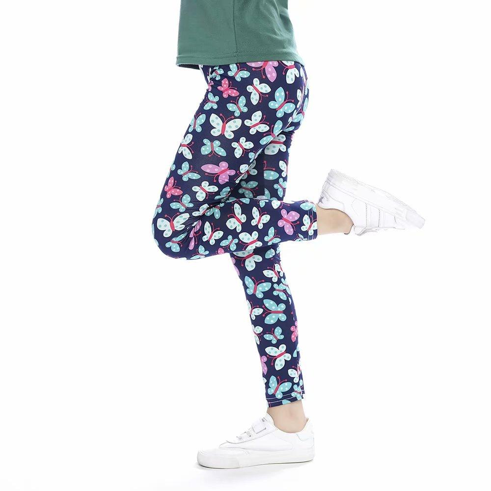 slaixiu Girls Leggings Stretchy Kids Pants Classic Printing Flower Pattern(BBFOO_65#)