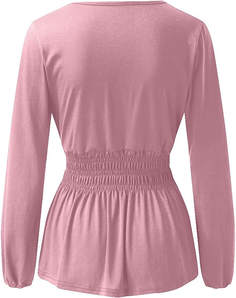 OFEFAN Womens V Neck Lantern Long Sleeves Tunic Smocked Waist Ruffle Hem Blouses Tops