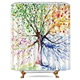 Pink and Blue Shower Curtain Riyidecor Colorful Tree Shower Curtain Free Metal Hooks 12-Pack Four Season Green Yellow Pink Blue Decor Fabric Bathroom Set Polyester Waterproof 72x72 Inch