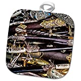 3dRose Alexis Photography - Objects Cold Steel - Cold steel - decorated and ornamented arm blanche - 8x8 Potholder (phl_270854_1)