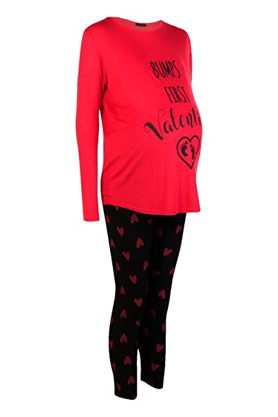b4d0d70aa1bd Boohoo Womens Maternity Tess Bumps First Valentines PJ Set In Red Size 8