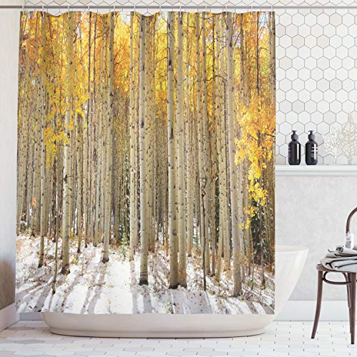 - Ambesonne Farm House Decor Collection, Aspen Trees with Golden Leaves in Snow, Forest in Early Winter Time Landscape, Polyester Fabric Bathroom Shower Curtain Set with Hooks, Gold White Beige