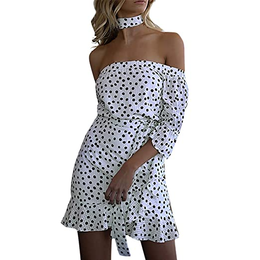 Hotcl Spring Off Shoulder Women Plus Size Polka Dot Bandage ...