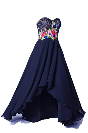 99Gown Long Formal Dresses For Women Evening Flowers Lace Beaded Prom Homecoming Dress, Color Navy