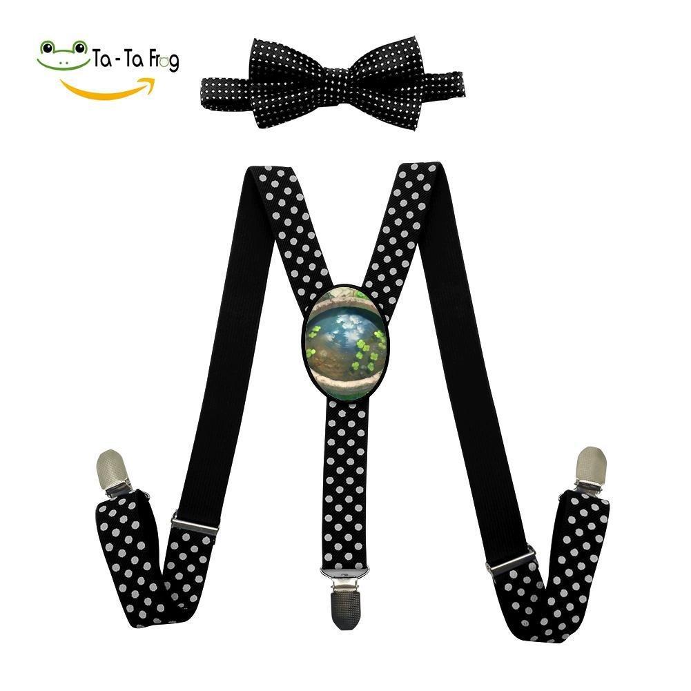 Xiacai Green Nature Suspender/&Bow Tie Set Adjustable Clip-On Y-Suspender Boys