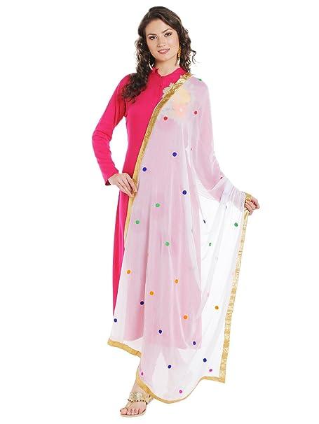 c4ea922c62 Amazon.com: Dupatta Bazaar Women's White & Multicoloured Embroidered  Chiffon Dupatta: Clothing