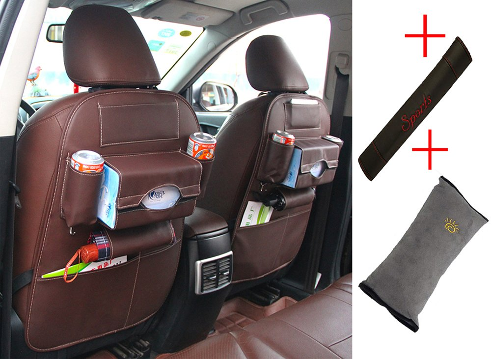 2 Pack Car Backseat Protect - Lamshine PU Water-Repellent Leather Organizer Including Child Pillow, Seat Belt Covers Shoulder Pads (Wine red) LEMSHINE LEMSHINE-PU-001