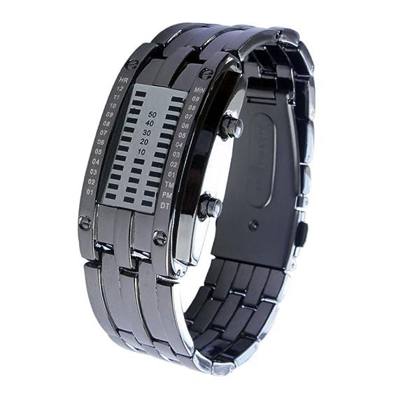 Elegante reloj con reloj de pulsera para mujer reloj digital reloj negro: Amazon.es: Relojes