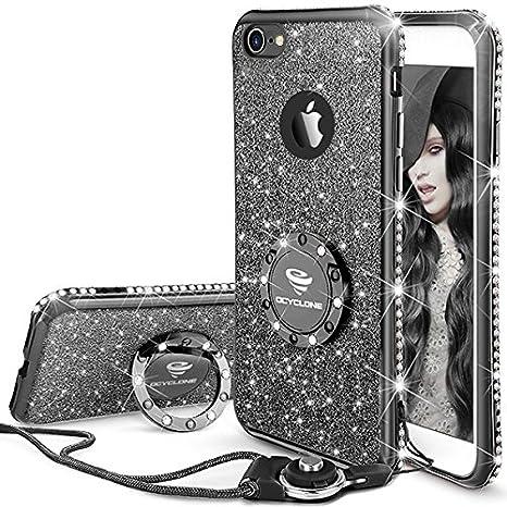 OCYCLONE iPhone 6S Hülle, Schwarz Glitzer Handy Hülle iPhone 6 / 6S mit Ring 360 Grad Ständer, Diamant Glanz Bling Glitzer Ni