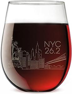 Running Stemless Wine Glass - New York City Sketch