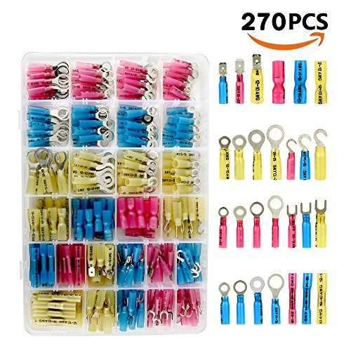 Electop 270 PCS Heat Shrink Wire Connector Kit Electrical Insulated Crimp Ring Butt Spade Waterproof Marine Automotive Terminals Set