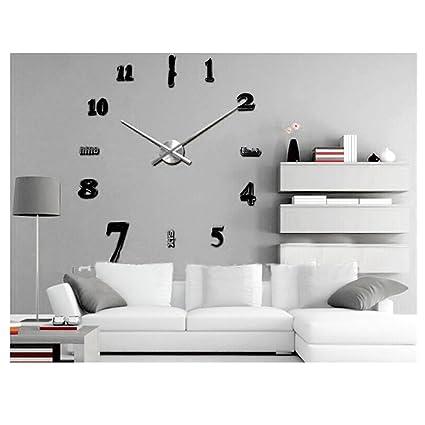 3D sin Marco estilo relojes horas de Tamaño Grande Reloj de Pared ...