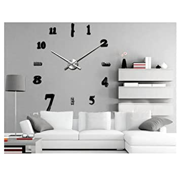 Trendy d sans grande horloge murale style montre heures diy dcoration de chambre chiffre arabe for Grosse horloge murale design