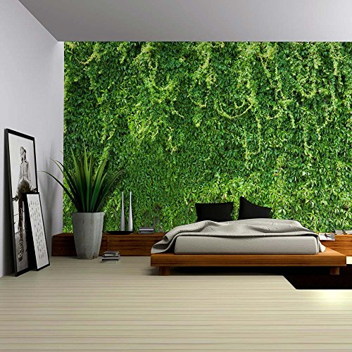Green Branches of Leaves on the Wall Wall Mural Removable Wallpaper