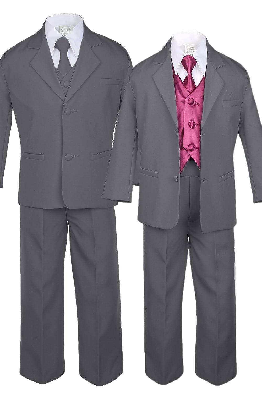 7pc Formal Boys Dark Gray Suits Extra Burgundy Vest Necktie Sets S-20 7