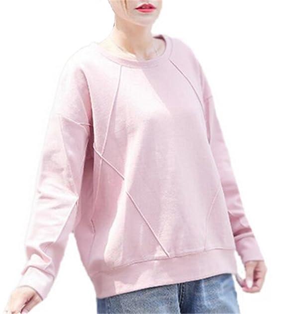 Haililais Mujer Ocasionales De Manga Larga Cuello Redondo Universidad T Shirt Tops Blusas Color Sólido Joven Jersey Hipster Suelto Sudaderas Guapas: ...