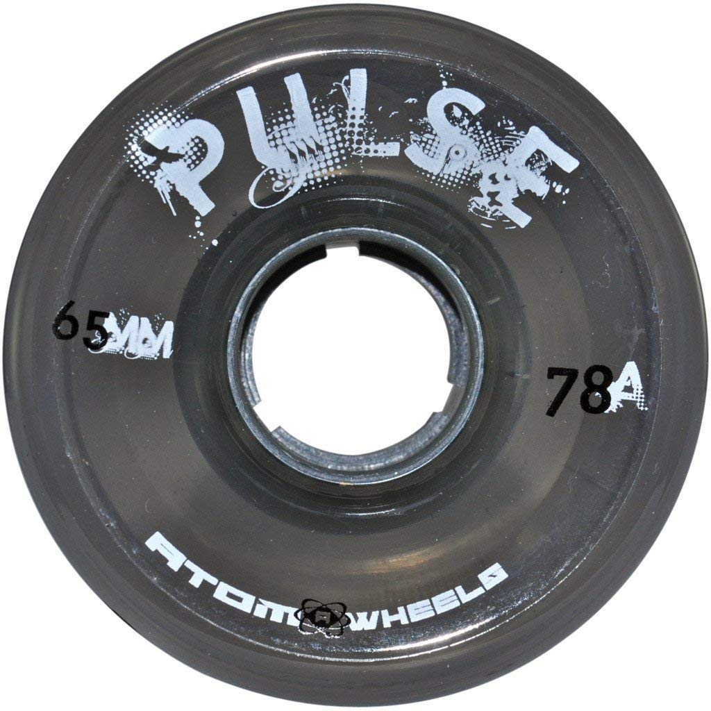 Atom Skates Pulse Outdoor Quad Roller Wheels 78A, Black, Set of 8, 65mm x 37mm