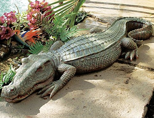 Crocodile Garden Statue- The Swamp Beast Statue Is a Perfect Garden Art- This Outdoor Animal Statue Is Handpainted, You Can Place This in Your Patio, Backyard, Lawn- A Beautiful Decor! by Design Toscano