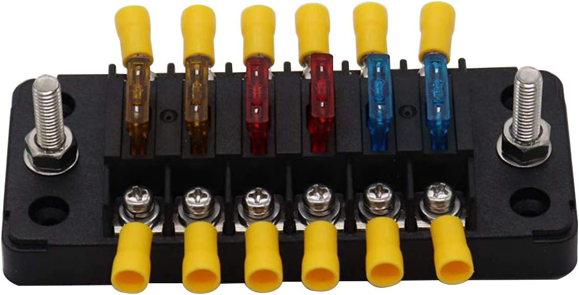 6 Circuits Fuse Block with Negative bus Boat Camper Car Truck RV Trailer Solar Fuse Box Panel With Connectors Regular Fuses Holder 12 volt 32 volt Red LED indicator
