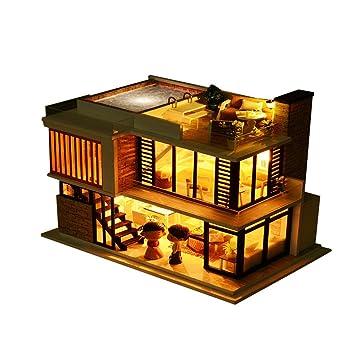 Hunpta 3d Haus 3d Holz Diy Miniatur Haus Mobel Led Haus Puzzle