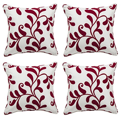 Alexandra Cole Decorative Pillow Covers 18x18 set of 4 Home Décor Series Floral Throw Pillow Cases (Four Seat Series Sofa)