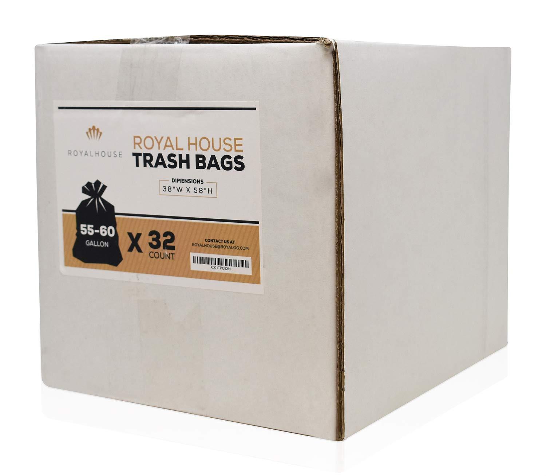 Black 32 Count 38W x 58H Royal House 55-60 Gallon Trash Bags 3 Mil