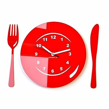 Moderno orologio da parete orologio da parete Posate e Piatto ...