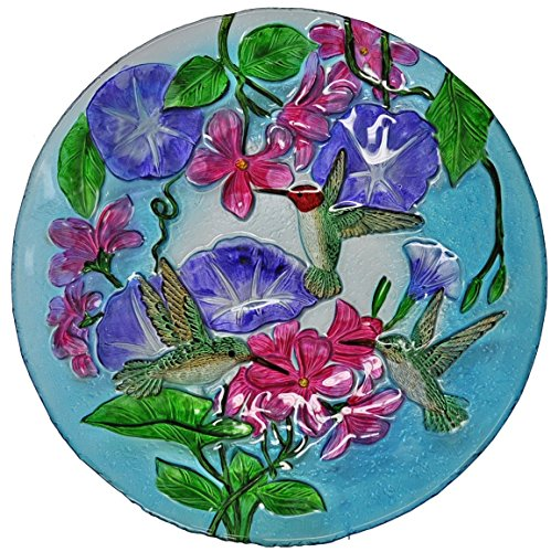Continental Art Center Humming Birds and Morning Glories Glass Plates, 18-Inch by Continental Art
