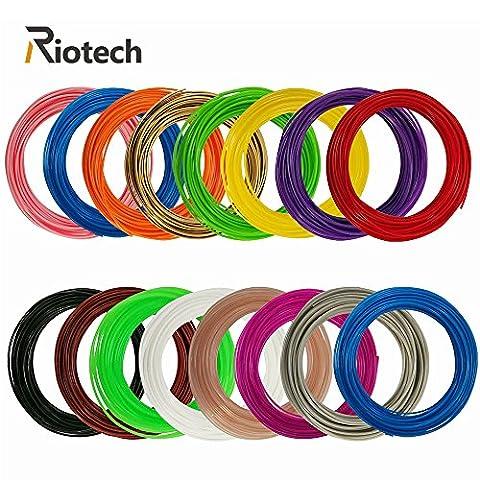 RioTech 3D Pen Filament Refills - 1.75mm PLA 525 Linear Feet (32.8ft each) Total Pack of 16 Unique - 16 Linear Feet
