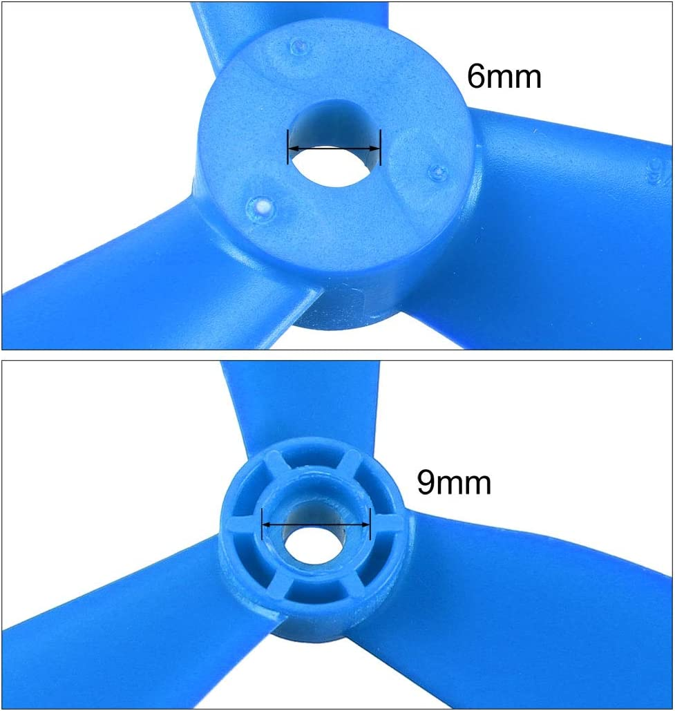 uxcell RC Propellers CW CCW 9045 9x4.5 Inch 3-Vane Multi-Rotor for Aircraft Toy Nylon Blue 1 Pair with Adapter Rings