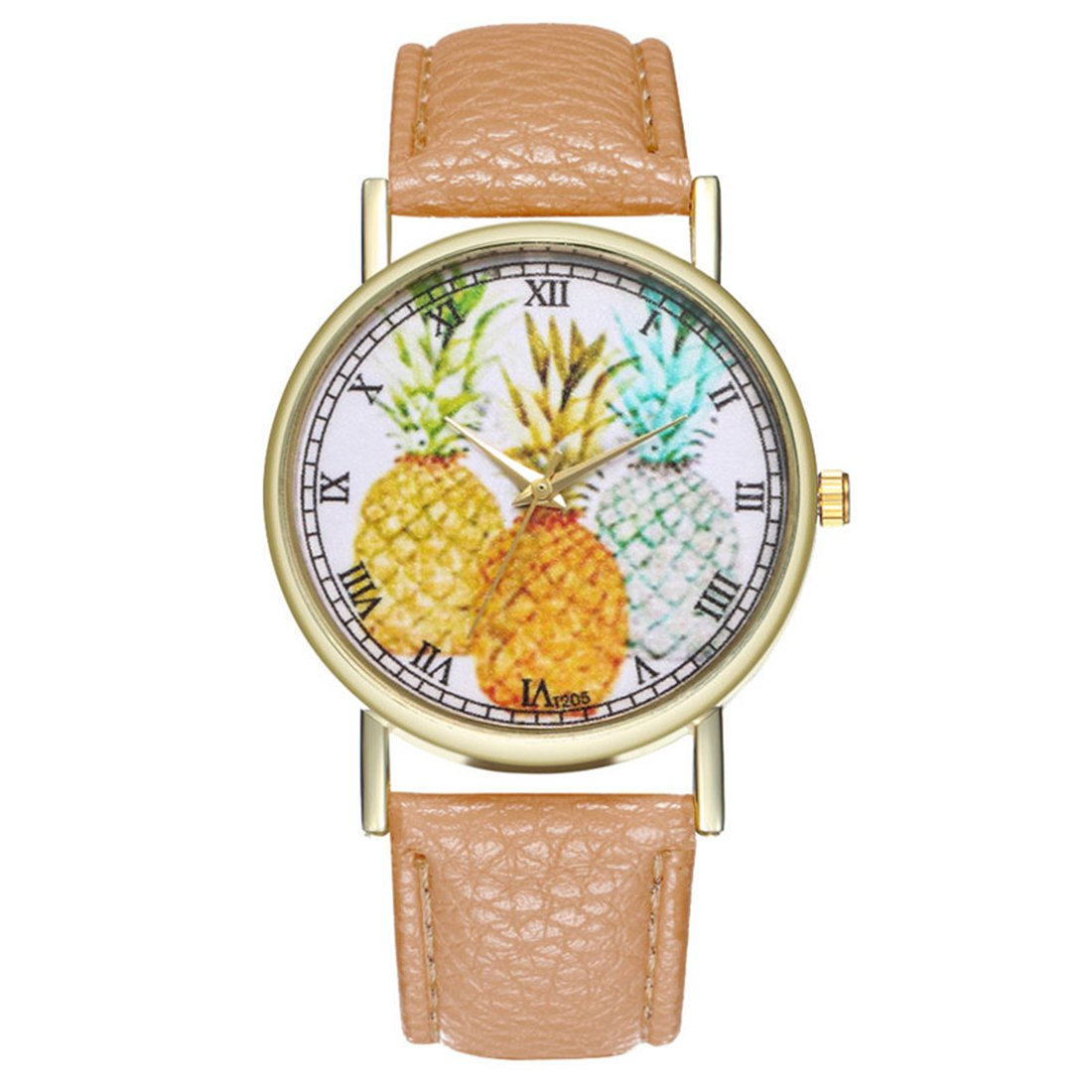 Loweryeah Pineapple Dial Leather Couple Quartz Wrist Watch