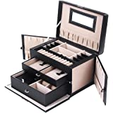 SONGMICS Jewelry Box Girls Jewelry Organizer Mirrored Mini Travel Case Lockable Black UJBC121B