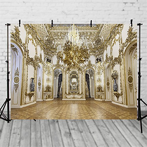 ML Photo Backdrop 7x5 Gold Palace Crystal Chandelier Wedding Photography Backgrounds Indoor Scenic Photo Studio Backdrops ()