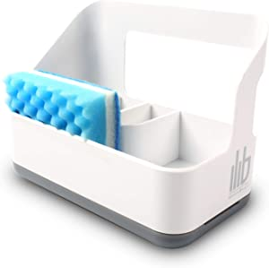 Sink Caddy Sponge Holder - Kitchen Sink Organizer with Adjustable Compartment Dividers and Drip Drain Tray - Slim White Plastic Design - For Dish Cleaning, Brush, Scrubbie Storage - Dishwasher Safe
