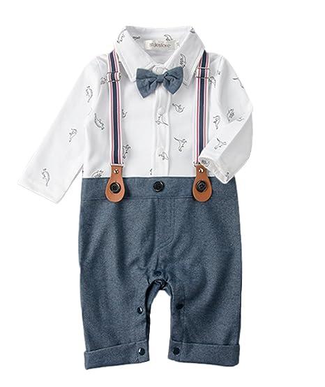 15ce915a6803 stylesilove Dinosaur Print Long Sleeve Tuxedo Baby Boy Romper (70/6-12  Months