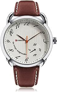 ساعة كورين كاجوال للرجال بمينا اسود وسوار جلدي -8114