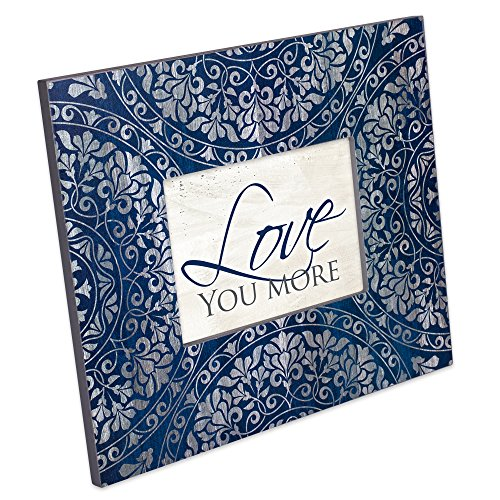 Cottage Garden Love You More Decoupage Navy Medallion 13 x 11 Wood Table Top Wall Photo Frame Plaque - Decoupage Frame