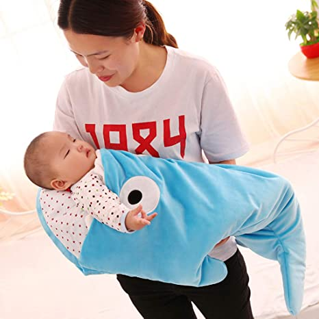 Amazon.com: Seaskyer Cartoon Shark Sleeping Bag Anti-Kicking Newborn Sacks Swaddle Blanket, Stroller Blanket Cotton Warm Winter Sleep Sack for Babies ...