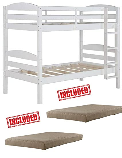 Amazon Com Mainstays Twin Over Twin Wood Bunk Bed In White Finish