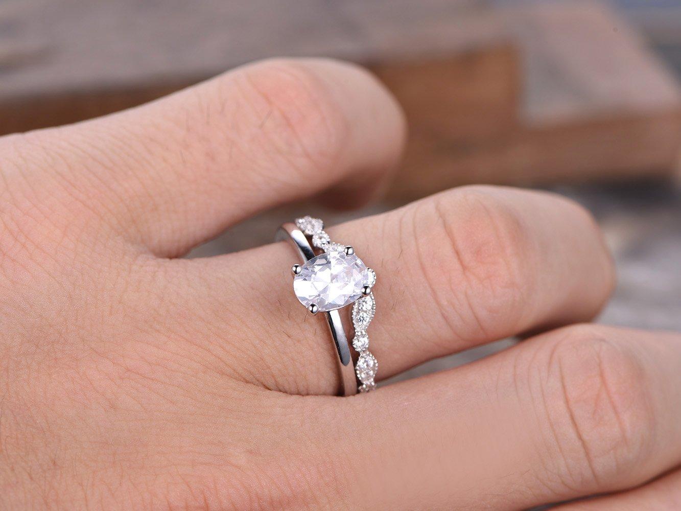 Amazon.com: CZ Diamond Wedding Ring Set,6x8mm Oval Cut Solitaire ...