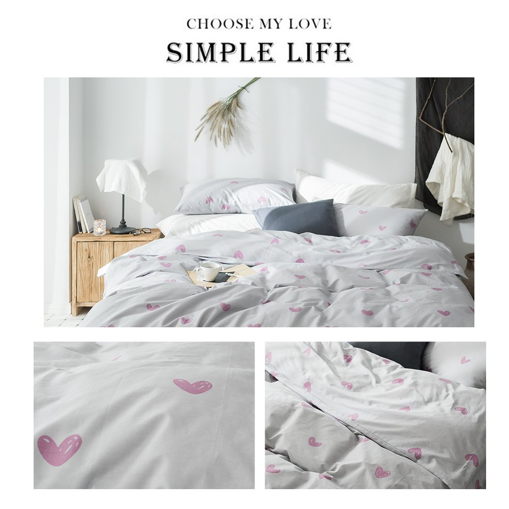 Enjoylife Soft Duvet Cover Set Love Heart Print Breathable Reversible 100% Cotton Bedding Set 3 Pieces with 2 Pillow Cases Best Bedding Gifts for Kids/Adults Full/Queen by EnjoyLife Inc (Image #2)