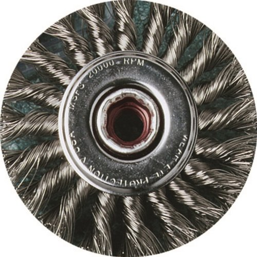 United Abrasives- SAIT 06461 4'' x .020 x 5/8-11 Arbor Stainless Bristle Regular Twist Knot & Crimped Style Angle Grinder Wire Wheel