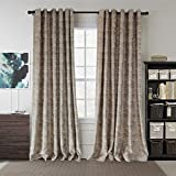 Brown Valance Room Darkening Drapes – Anady Top Light Brown Chenille Curtains Drapes for Living Room Grommet 63 inch Long(2018 NEW) For Sale