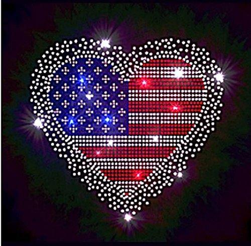 - American Flag Heart #2 Rhinestone Iron on Transfer