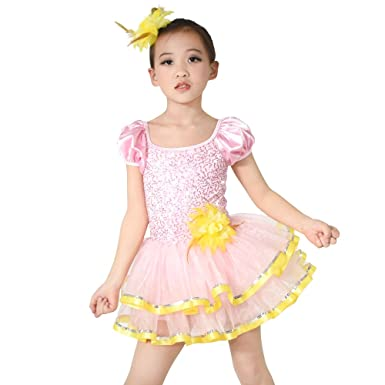 66f06415a87f Amazon.com  MiDee Little Girls  Sequin Puff Sleeves Ballet Costume ...